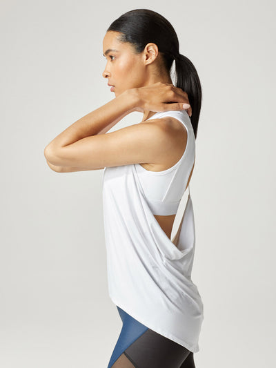 Releve Fashion Michi White Hustle Tank Ethical Designer Brand Sustainable Fashion Athleisure Activewear Athleticwear Positive Luxury Brands to Trust Purchase with Purpose Shop for Good