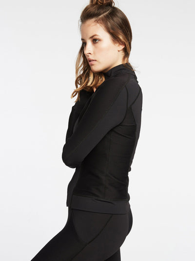 Releve Fashion Michi Black Ignite Jacket Ethical Designer Brand Sustainable Fashion Athleisure Activewear Athleticwear Positive Luxury Brands to Trust Purchase with Purpose Shop for Good