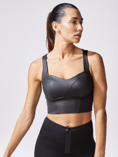 Releve Fashion Michi Black Instinct Bustier Ethical Designer Brand Sustainable Fashion Athleisure Activewear Athleticwear Positive Luxury Brands to Trust Purchase with Purpose Shop for Good