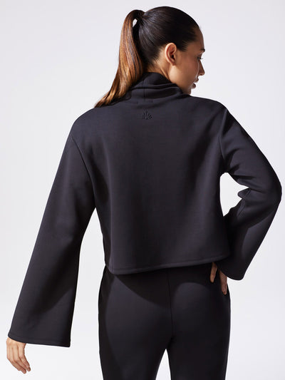 Releve Fashion Michi Black Lair Sweater Ethical Designer Brand Sustainable Fashion Athleisure Activewear Athleticwear Positive Luxury Brands to Trust Purchase with Purpose Shop for Good