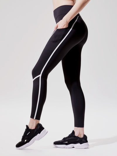 Releve Fashion Michi Black White Linear Legging Ethical Designer Brand Sustainable Fashion Swimwear Athleisure Activewear Athleticwear Positive Luxury Brands to Trust Purchase with Purpose Shop for Good