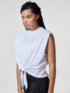 Releve Fashion Michi White Muscle Tie Top Ethical Designer Brand Sustainable Fashion Athleisure Activewear Athleticwear Positive Luxury Brands to Trust Purchase with Purpose Shop for Good