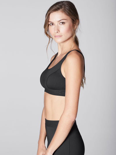 Releve Fashion Michi Black Pulse Sports Bra Ethical Designer Brand Sustainable Fashion Athleisure Activewear Athleticwear Positive Luxury Brands to Trust Purchase with Purpose Shop for Good