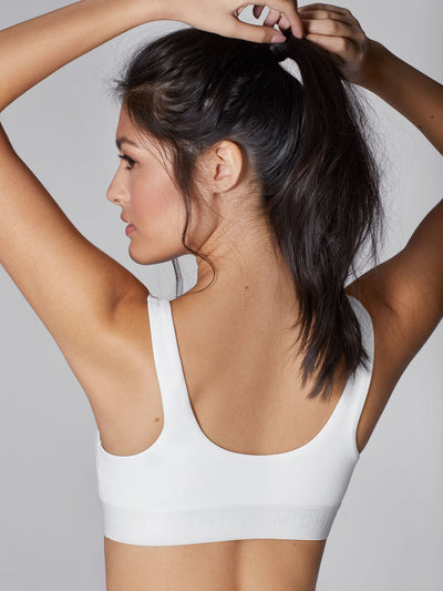 Releve Fashion Michi White Pulse Sports Bra Ethical Designer Brand Sustainable Fashion Athleisure Activewear Athleticwear Positive Luxury Brands to Trust Purchase with Purpose Shop for Good
