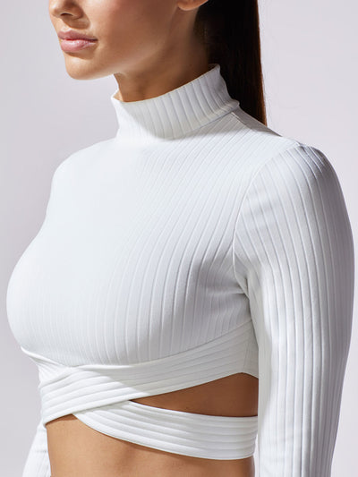 Releve Fashion Michi Ivory Reflex Top Ethical Designer Brand Sustainable Fashion Athleisure Activewear Athleticwear Positive Luxury Brands to Trust Purchase with Purpose Shop for Good