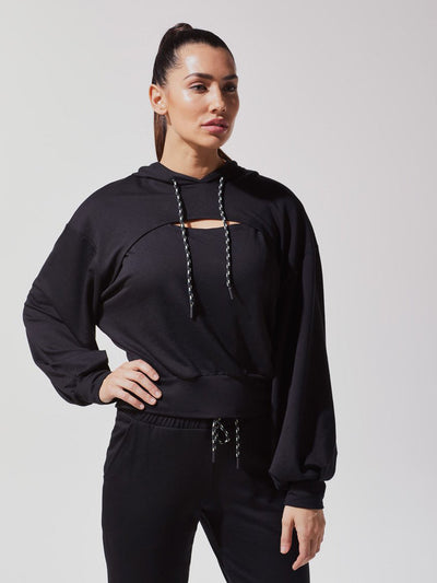 Releve Fashion Michi Black Splice Hoodie Ethical Designer Brand Sustainable Fashion Athleisure Activewear Athleticwear Positive Luxury Brands to Trust Purchase with Purpose Shop for Good