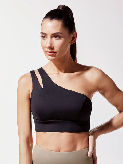 Releve Fashion Michi Black Tigress Sports Bra Ethical Designer Brand Sustainable Fashion Athleisure Activewear Athleticwear Positive Luxury Brands to Trust Purchase with Purpose Shop for Good