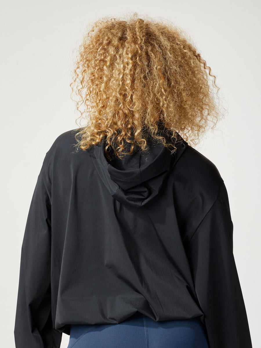 Releve Fashion Michi Black Woke Hoodie Jacket Ethical Designer Brand Sustainable Fashion Athleisure Activewear Athleticwear Positive Luxury Brands to Trust Purchase with Purpose Shop for Good