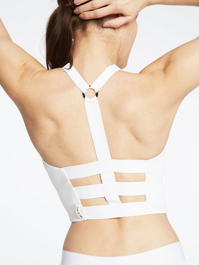 Releve Fashion Michi Axial Bustier White Activewear Athleisure Wear Ethical Designers Sustainable Fashion Brands Purchase with Purpose Shop for Good
