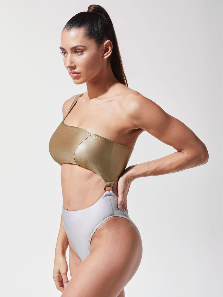 Releve Fashion Michi Golden Platinum Hydra Bathing Suit Ethical Designer Brand Sustainable Fashion Swimwear Athleisure Activewear Athleticwear Positive Luxury Brands to Trust Purchase with Purpose Shop for Good