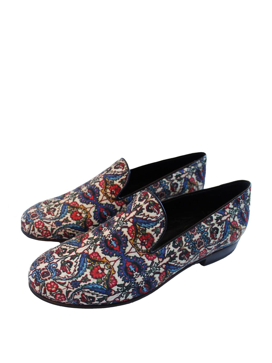 Releve Fashion Muzungu Sisters Cecilia Bringheli Bakhtiari Printed Loafers Smoking Slippers Ethical Designers Sustainable Fashion Brand Handmade Artisanal Positive Fashion Purchase with Purpose Shop for Good