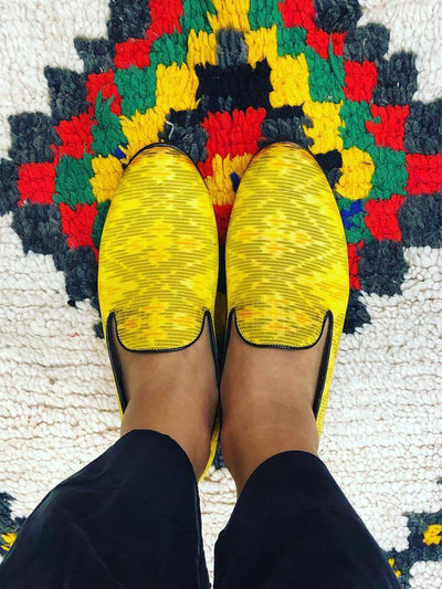 Releve Fashion Muzungu Sisters Cecilia Bringheli Yellow Ikat Printed Loafers Smoking Slippers Ethical Designers Sustainable Fashion Brand Handmade Artisanal Positive Fashion Purchase with Purpose Shop for Good