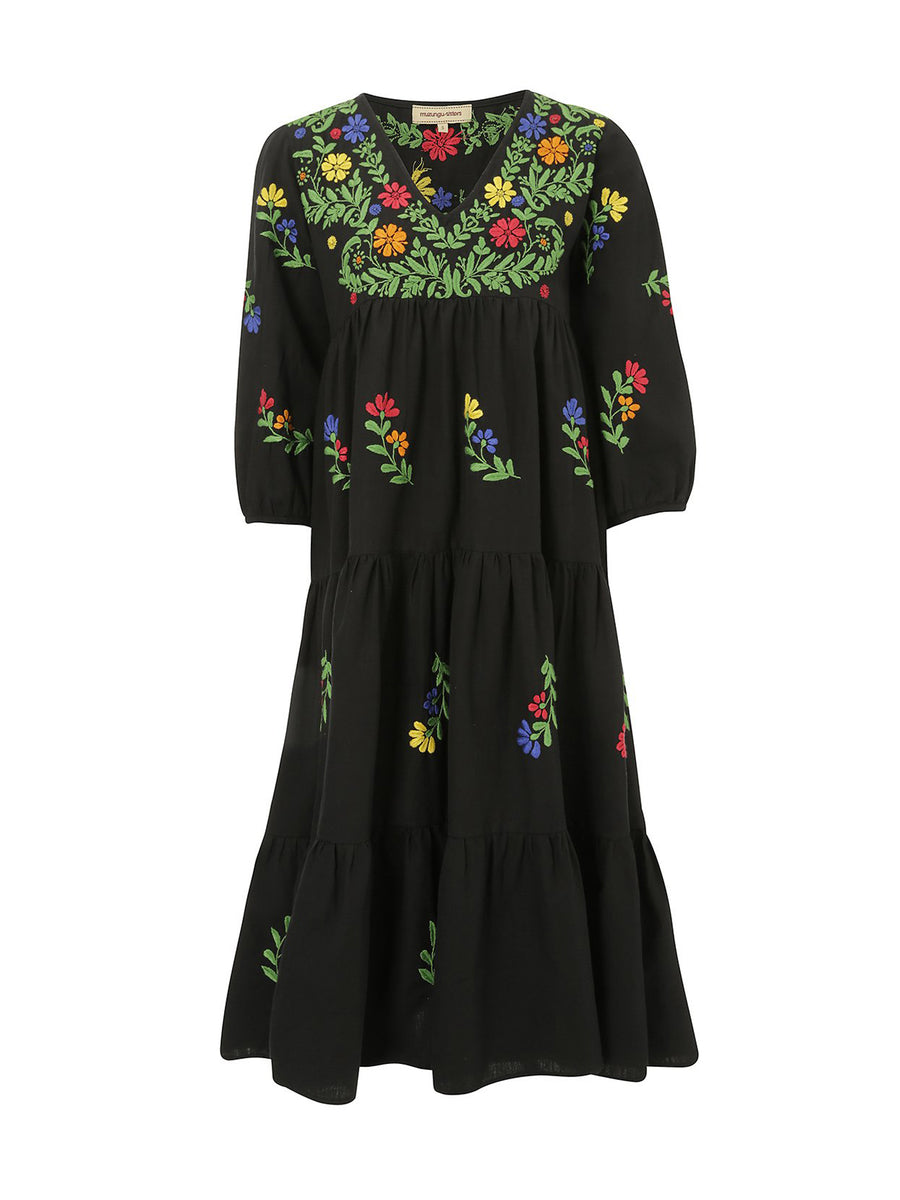 Releve Fashion Muzungu Sisters Black Frangipani Organic Cotton Hand-Embroidered Dress Ethical Designers Sustainable Fashion Brand Handmade Artisanal Positive Fashion Conscious Luxury Purchase with Purpose Shop for Good