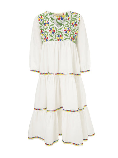 Releve Fashion Muzungu Sisters White Frangipani Organic Cotton Hand-Embroidered Dress Ethical Designers Sustainable Fashion Brand Handmade Artisanal Positive Fashion Conscious Luxury Purchase with Purpose Shop for Good