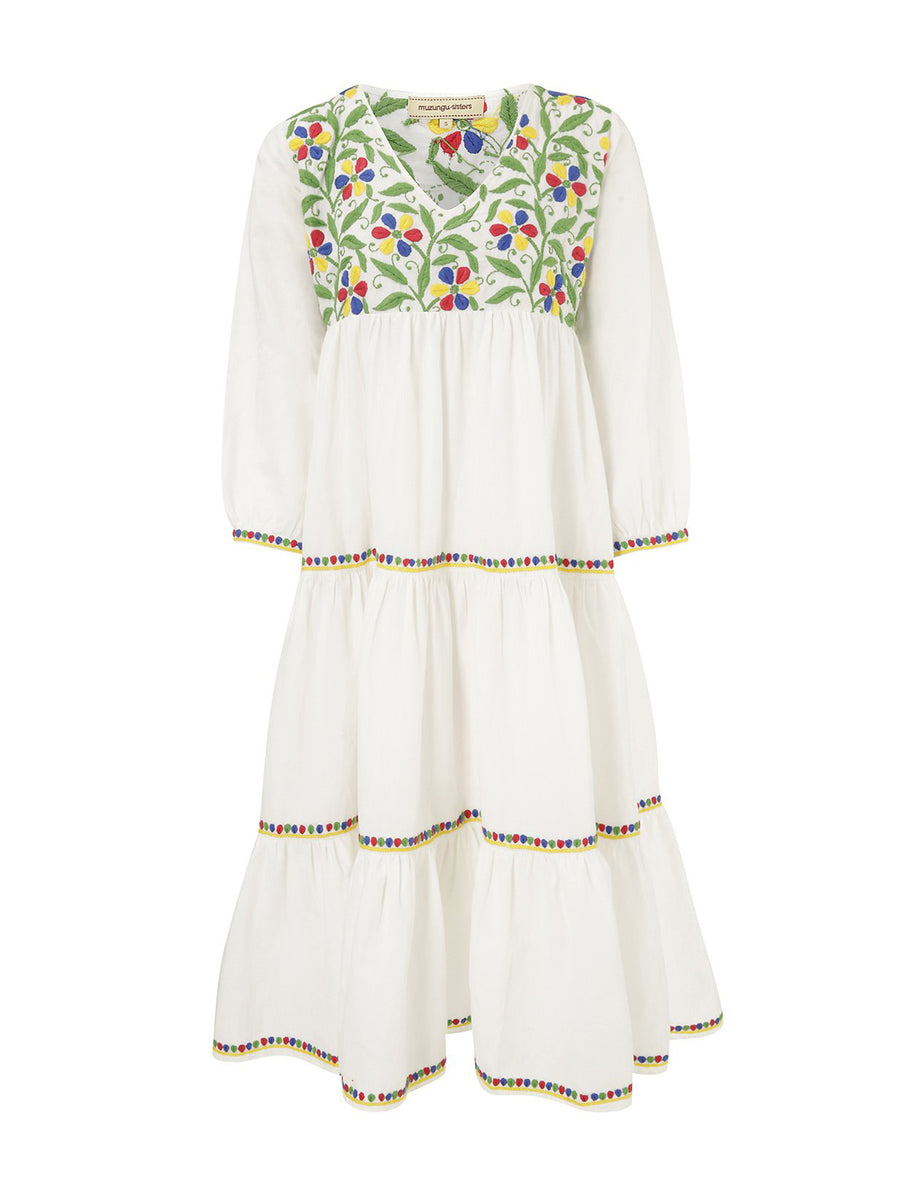 Frangipani Organic Cotton Dress, White II