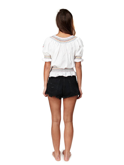 Releve Fashion Muzungu Sisters Clothing Dora White Embroidered Top Ethical Designers Sustainable Fashion Brand Handmade Artisanal Positive Fashion Purchase with Purpose Shop for Good