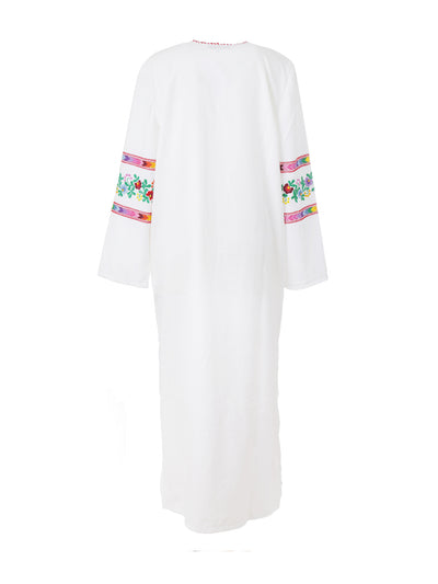 Releve Fashion Muzungu Sisters White Jasmine Dress Multicolour Vine Embroidered Ethical Designers Sustainable Fashion Brand Handmade Artisanal Positive Fashion Purchase with Purpose Shop for Good