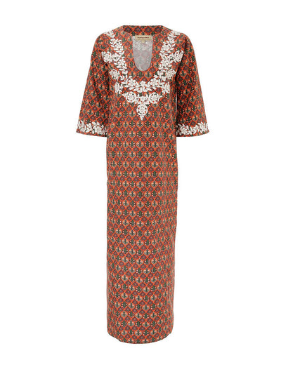 Releve Fashion Muzungu Sisters Lotus Hand-Embroidered Cotton Kaftan Ethical Designers Sustainable Fashion Brand Handmade Artisanal Positive Fashion Purchase with Purpose Shop for Good
