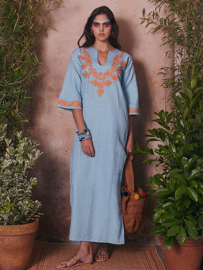 Releve Fashion Muzungu Sisters Lotus Hand-Embroidered Blue Orange Cotton Kaftan Ethical Designers Sustainable Fashion Brand Handmade Artisanal Positive Fashion Purchase with Purpose Shop for Good