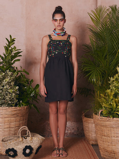 Releve Fashion Muzungu Sisters Marigold Hand-Embroidered Black Cotton Dress Ethical Designers Sustainable Fashion Brand Handmade Artisanal Positive Fashion Purchase with Purpose Shop for Good