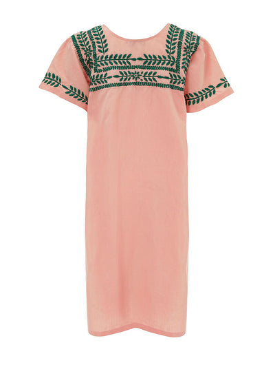 Releve Fashion Muzungu Sisters San Pedro Embroidered Pink Cotton Dress Ethical Designers Sustainable Fashion Brand Handmade Artisanal Positive Fashion Purchase with Purpose Shop for Good