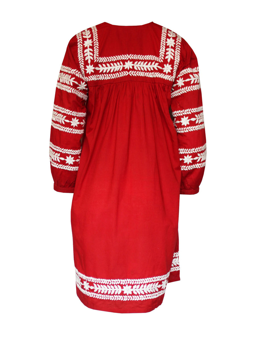 Releve Fashion Muzungu Sisters Taj Hand-Embroidered Cotton Mini Dress Ethical Designers Sustainable Fashion Brand Handmade Artisanal Positive Fashion Purchase with Purpose Shop for Good