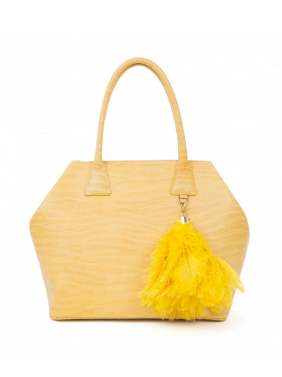 Releve Fashion Okapi Bag Charm Ostrich Feather Sun Gold Hardware Sustainable Ethical Fashion Brand Positive Luxury Positive Fashion Purchase with Purpose Shop for Good