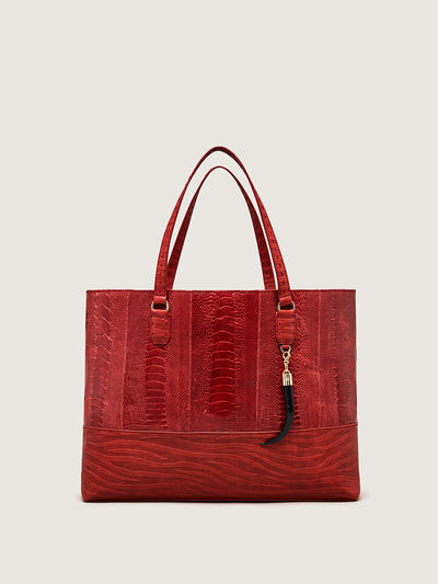 Releve Fashion Okapi Mawu Tote Bag Scarlet Red Ostrich Shin Sustainable Ethical Fashion Brand Positive Luxury Positive Fashion Purchase with Purpose Shop for Good
