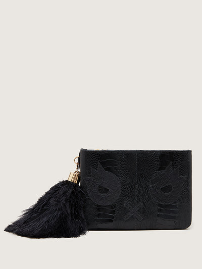 Releve Fashion Okapi Aja Quentin Jones Clutch Black Sustainable Ethical Fashion Brand Positive Luxury Positive Fashion Purchase with Purpose Shop for Good
