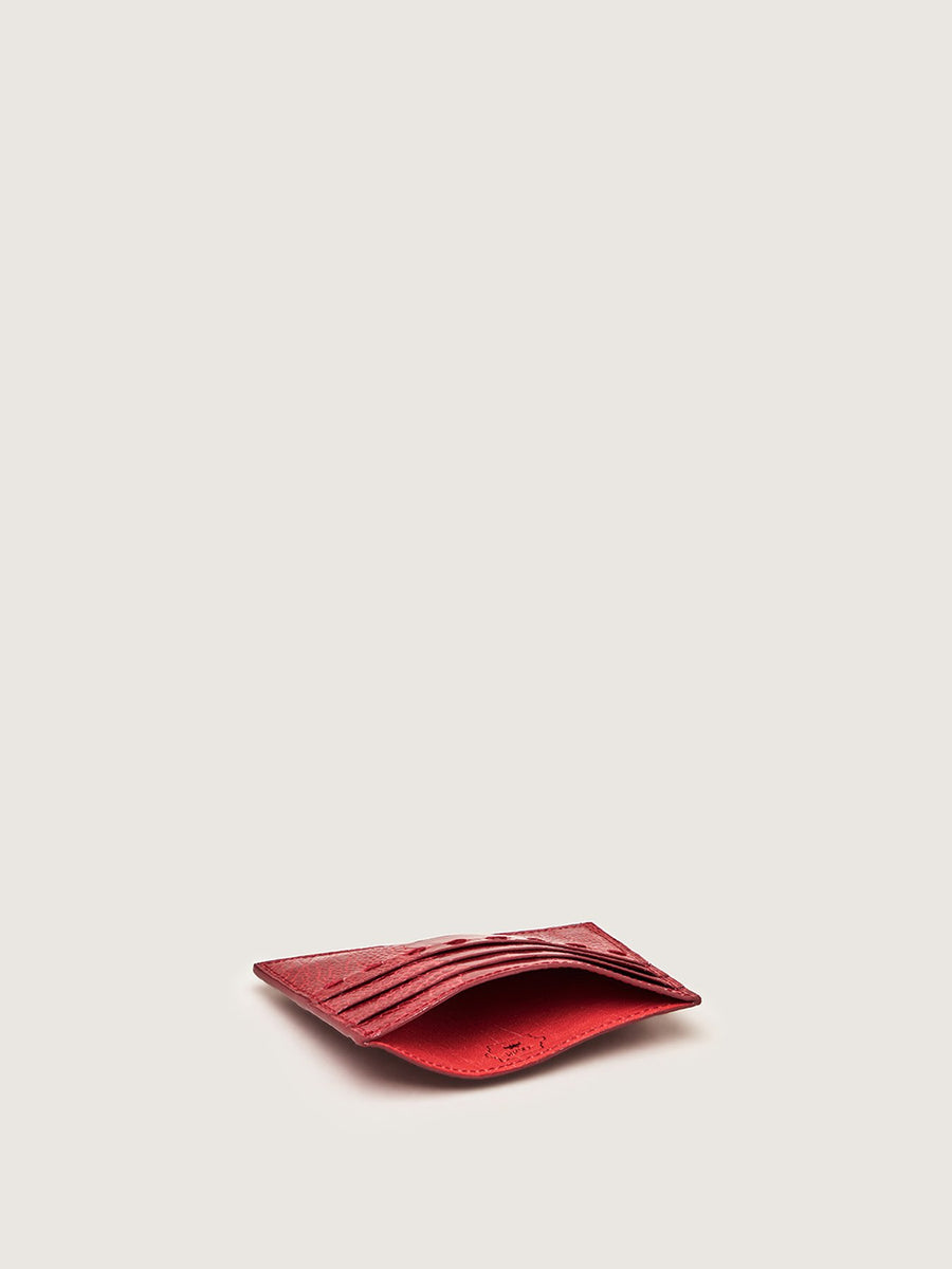 Releve Fashion Okapi Card Holder Scarlet Red Ostrich Shin Sustainable Ethical Fashion Brand Positive Luxury Positive Fashion Purchase with Purpose Shop for Good