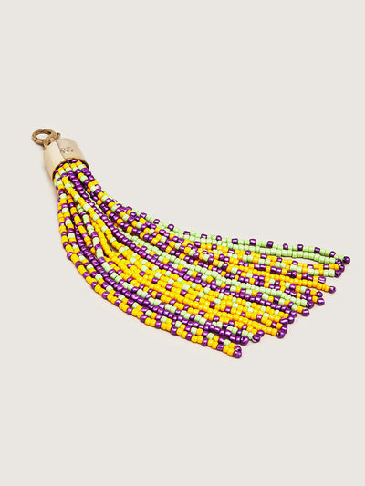 Releve Fashion Okapi Clip On Beaded Tassel Bag Charm Lime Purple Yellow Sustainable Ethical Fashion Brand Positive Luxury Positive Fashion Purchase with Purpose Shop for Good