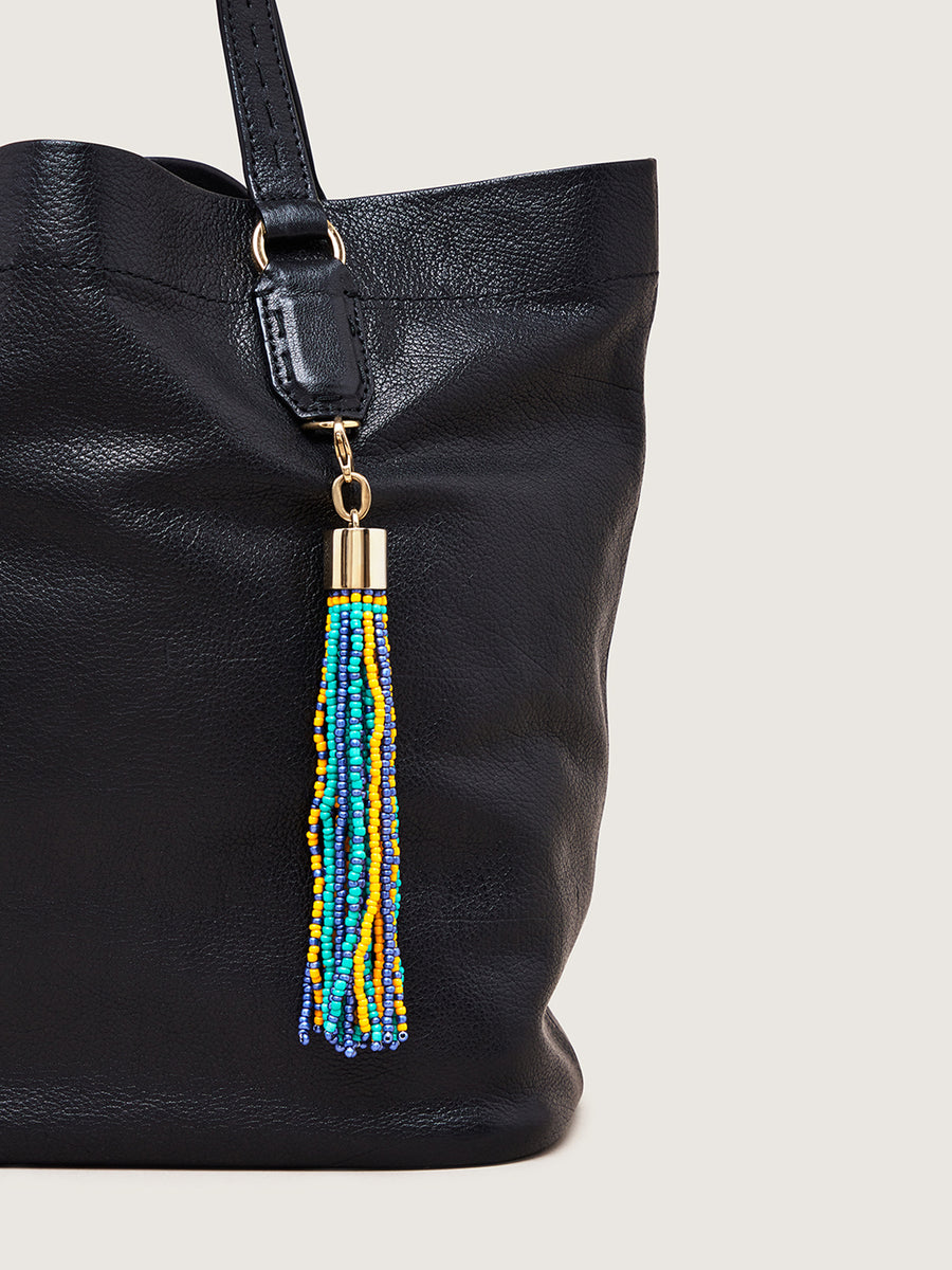 Releve Fashion Okapi Clip On Beaded Tassel Bag Charm Green Yellow Navy Sustainable Ethical Fashion Brand Positive Luxury Positive Fashion Purchase with Purpose Shop for Good
