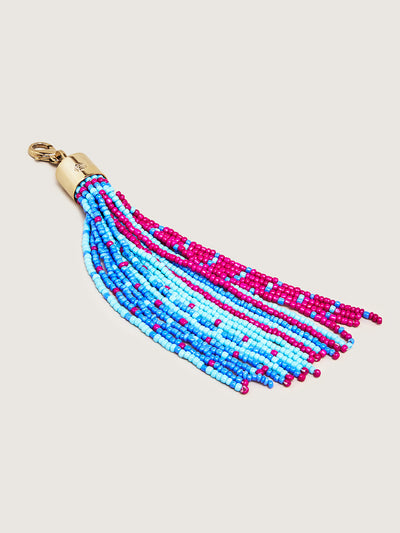 Releve Fashion Okapi Clip On Beaded Tassel Bag Charm Turquoise Fuchsia Blue Sustainable Ethical Fashion Brand Positive Luxury Positive Fashion Purchase with Purpose Shop for Good
