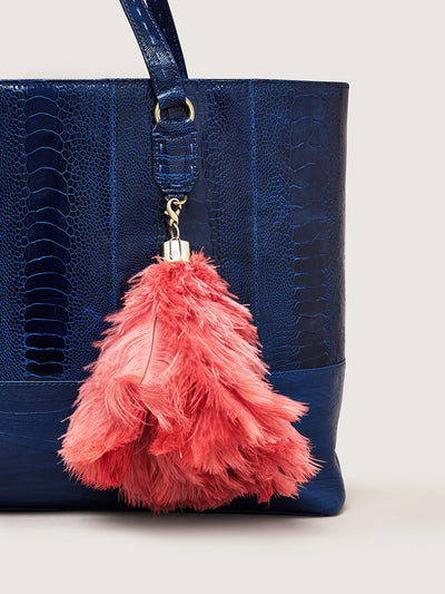 Releve Fashion Okapi Bag Charm Ostrich Feather Coral Gold Hardware Sustainable Ethical Fashion Brand Positive Luxury Positive Fashion Purchase with Purpose Shop for Good