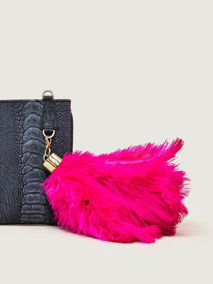 Releve Fashion Okapi Bag Charm Ostrich Feather Pink Gold Hardware Sustainable Ethical Fashion Brand Positive Luxury Positive Fashion Purchase with Purpose Shop for Good