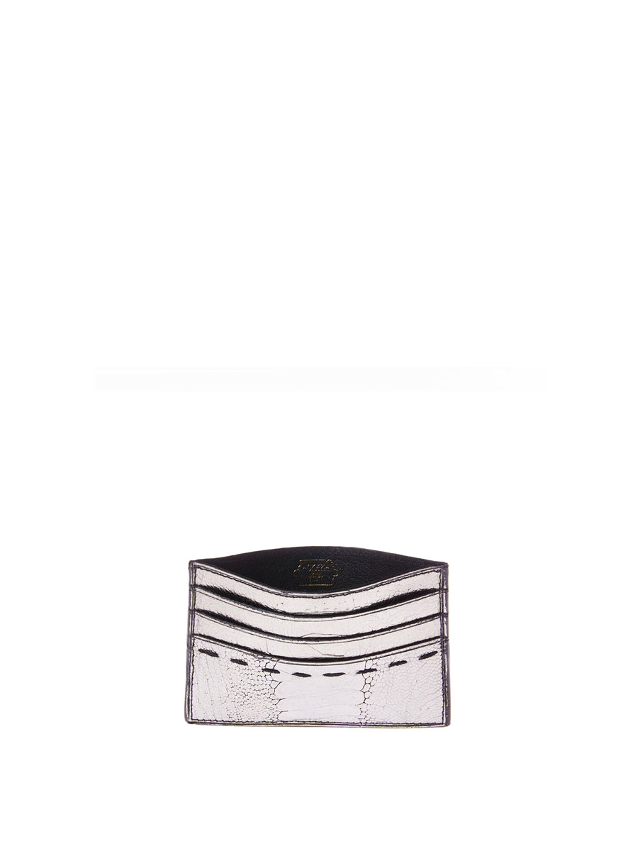 Releve Fashion Cardholder Gunmetal Ostrich Shin Gloss Sustainable Ethical Fashion Brand Positive Luxury Positive Fashion Purchase with Purpose Shop for Good