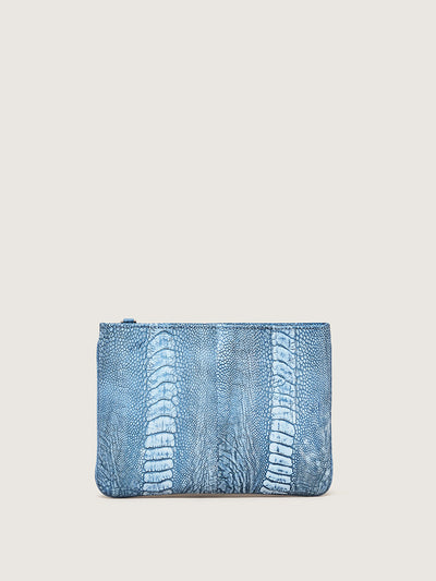 Releve Fashion Okapi Aja Clutch Crystal Blue Ostrich Shin Sustainable Ethical Fashion Brand Positive Luxury Positive Fashion Purchase with Purpose Shop for Good