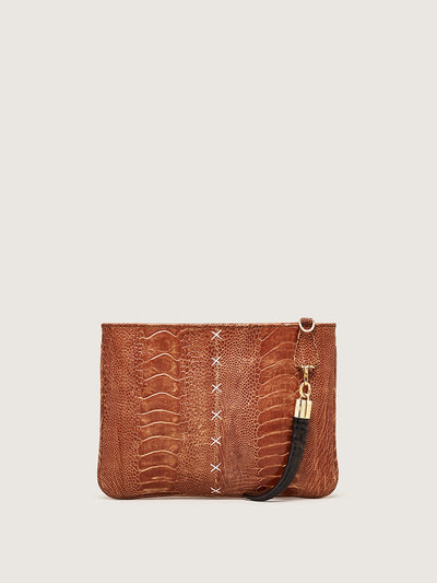 Releve Fashion Okapi Clutch Burnt Amber Ostrich Shin Gold Hardware Shop Buy Now Sustainable Fashion Ethical Fashion Positive Fashion Positive Luxury Brand Bags Accessories Clutch
