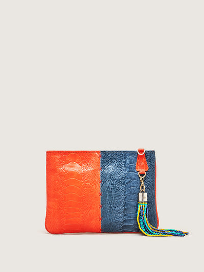 Releve Fashion Okapi Aja Clutch Chilli Red Ahos Blue Jean Ostrich Shin Black Stitching Sustainable Ethical Fashion Brand Positive Luxury Positive Fashion Purchase with Purpose Shop for Good