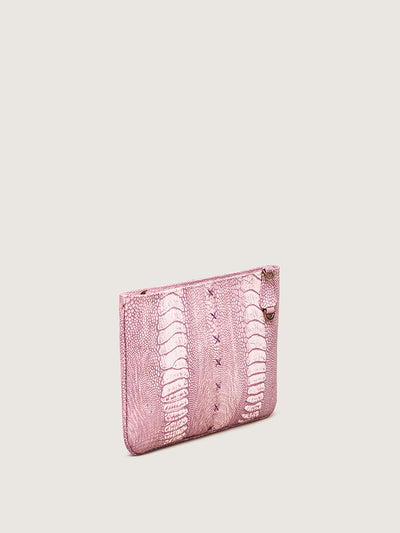 Releve Fashion Okapi Aja Clutch Light Pink Ostrich Shin Black Stitching Sustainable Ethical Fashion Brand Positive Luxury Positive Fashion Purchase with Purpose Shop for Good