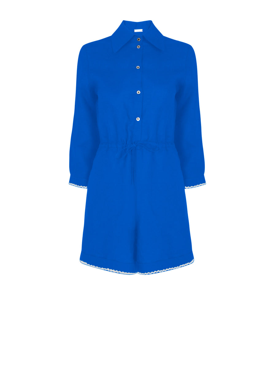 Portofino Linen Playsuit, Blue