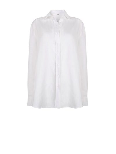Releve Fashion Oramai London Boyfriend Button Down Shirt White Ethical Designers Sustainable Fashion Brands Eco-Age Brandmark Purchase with Purpose Shop for Good