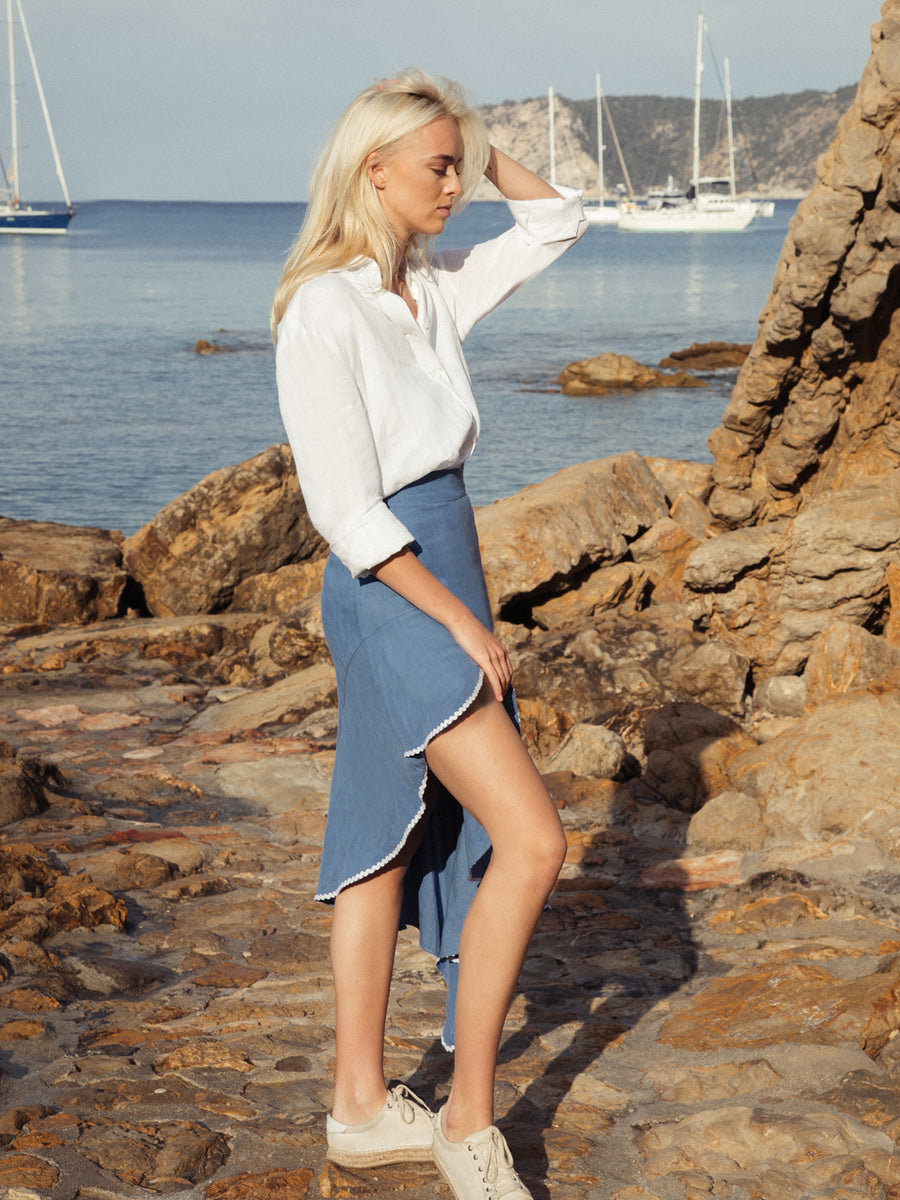 Releve Fashion Oramai London Blue Cartagena Skirt Ethical Designers Sustainable Fashion Brands Eco-Age Brandmark Purchase with Purpose Shop for Good