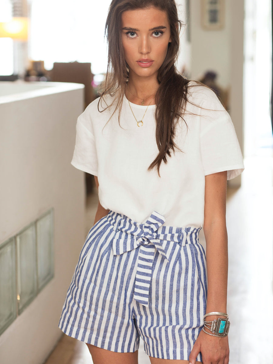 Ibiza Set Linen Shorts, Striped