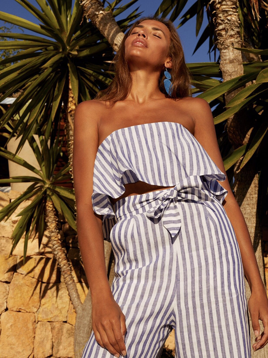 Releve Fashion Oramai London Ibiza Set Linen Top Striped Ethical Designers Sustainable Fashion Brands Eco-Age Brandmark Purchase with Purpose Shop for Good
