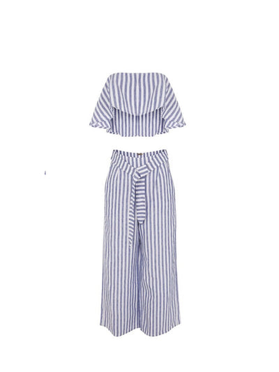 Releve Fashion Oramai London Ibiza Set Linen Trousers Striped Ethical Designers Sustainable Fashion Brands Eco-Age Brandmark Purchase with Purpose Shop for Good