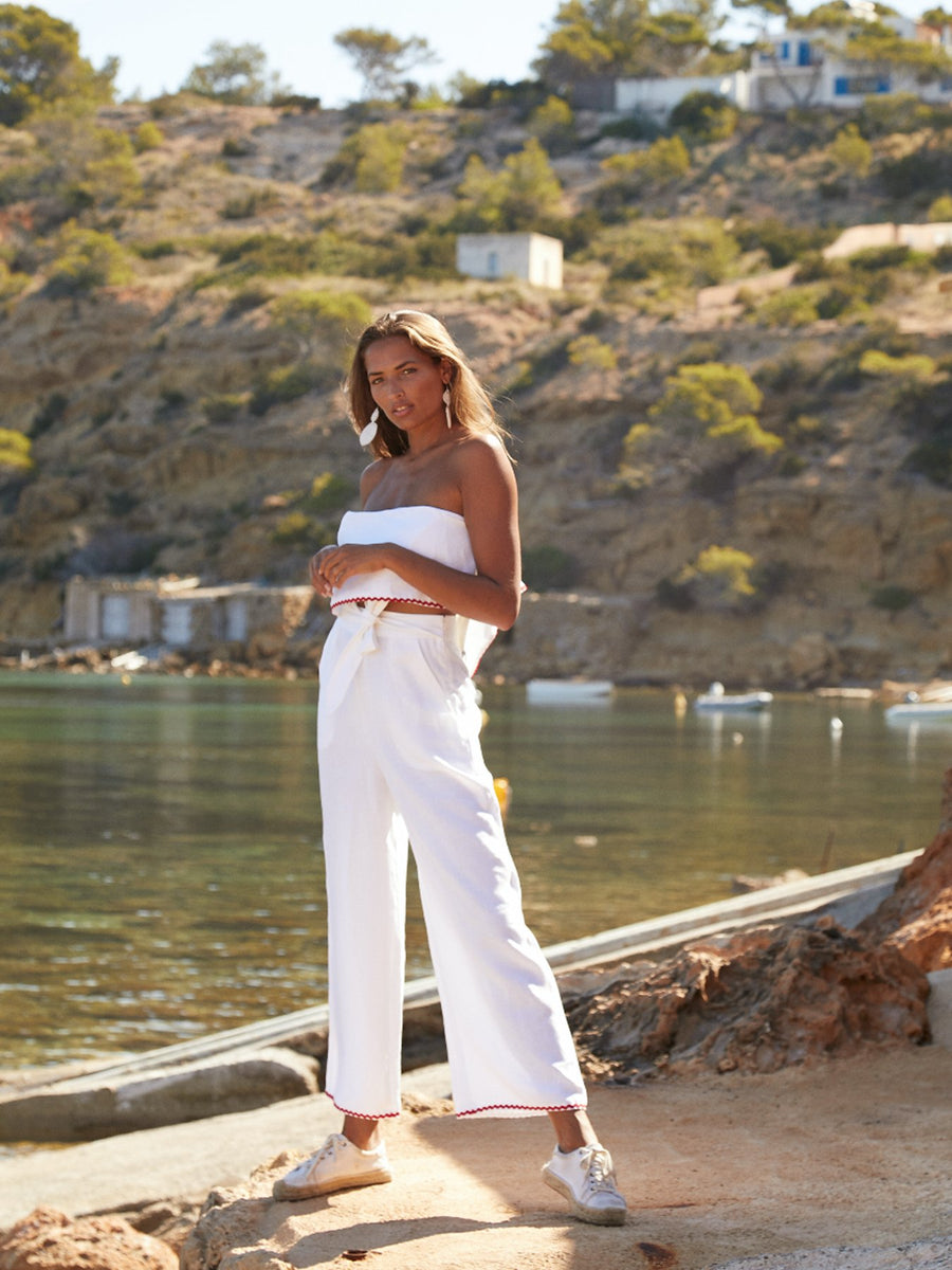 Ibiza Set Linen Trousers, White