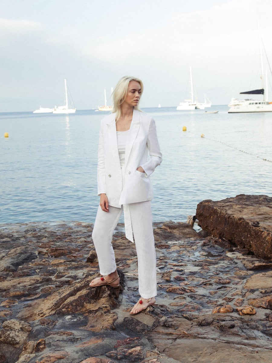 Releve Fashion Oramai London Nomade Suit Trousers White Ethical Designers Sustainable Fashion Brands Eco-Age Brandmark Purchase with Purpose Shop for Good