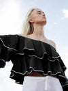 Releve Fashion Oramai London Ruffle Linen Top Black White Ethical Designers Sustainable Fashion Brands Eco-Age Brandmark Purchase with Purpose Shop for Good