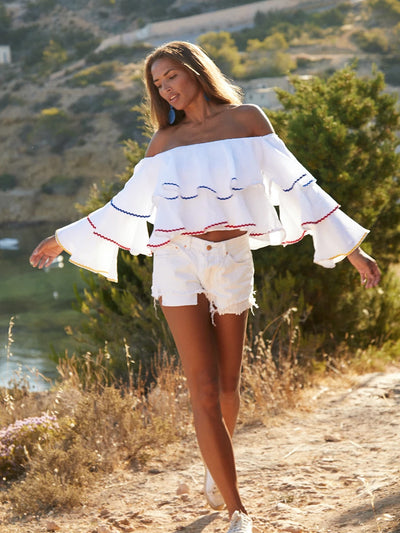 Releve Fashion Oramai London Ruffle Linen Top White Ethical Designers Sustainable Fashion Brands Eco-Age Brandmark Purchase with Purpose Shop for Good